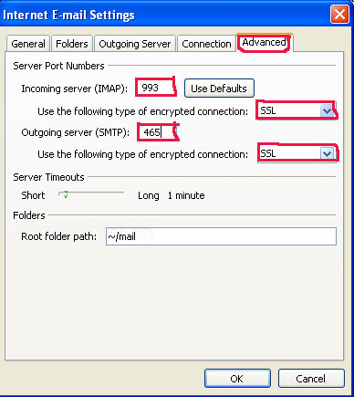 Pcs configuring imaps and smtps in microsoft outlook 2007 - Smtp and pop3 port number ...