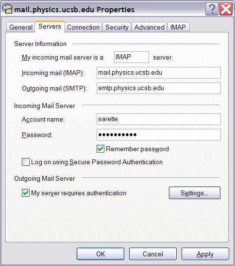Information select quot use same settings as my incoming mail server