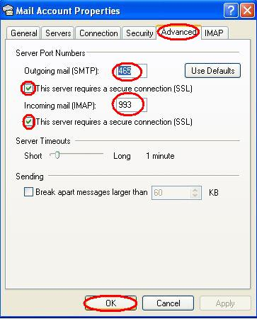 Configuring imap ssl and smtp ssl in outlook express 6 - Smtp and pop3 port number ...